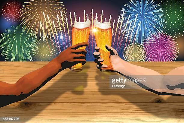 Oktoberfest Hintergrund [ Feuerwerk und -brett und Bier ]
