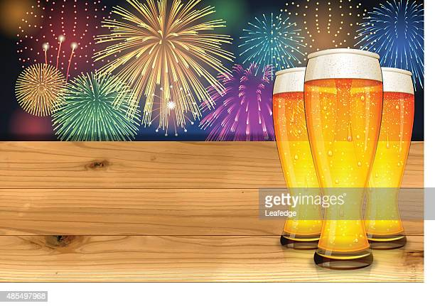 oktoberfest background[fireworks and board and beer] - canada day stock illustrations