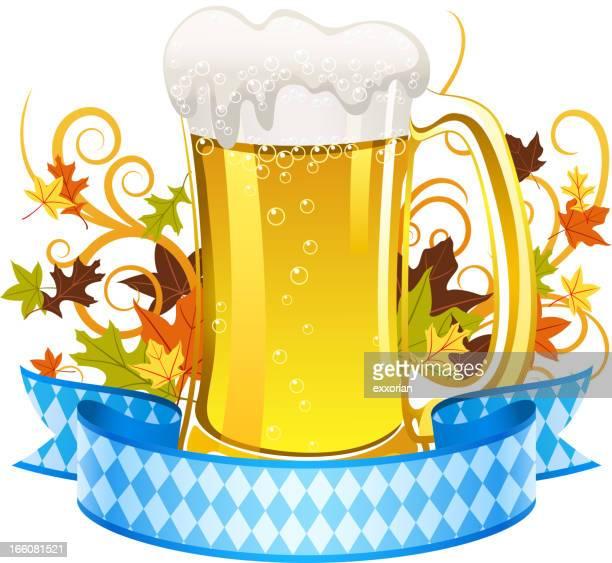 oktoberfest beer banner - lager stock illustrations, clip art, cartoons, & icons