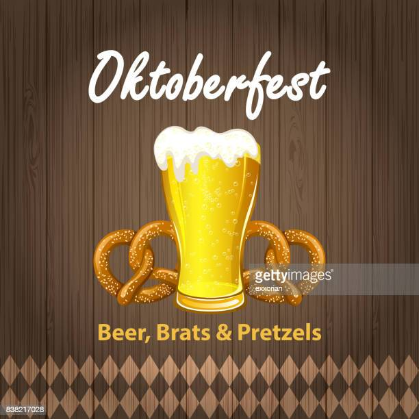 oktoberfest beer & pretzel - beer glass stock illustrations, clip art, cartoons, & icons