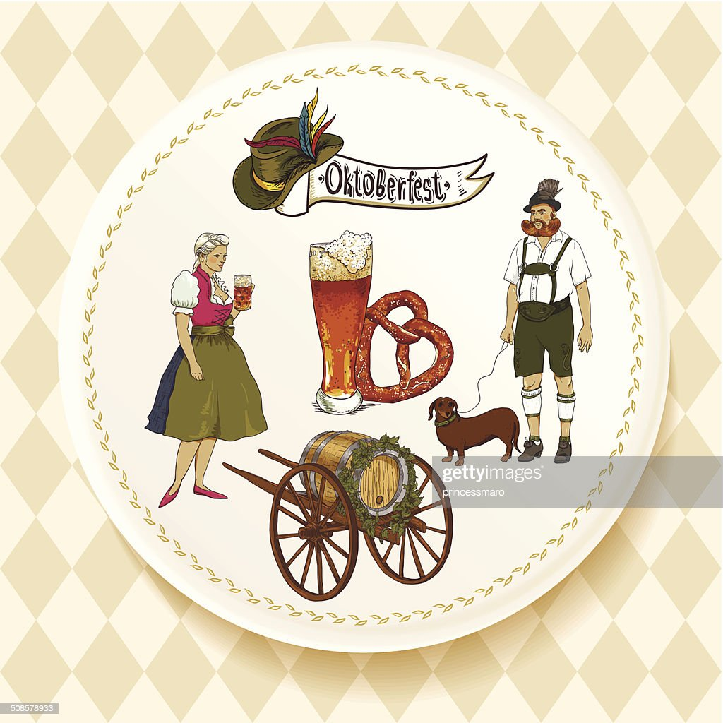Oktoberfest Beer Set on a white plate : Vektorgrafik