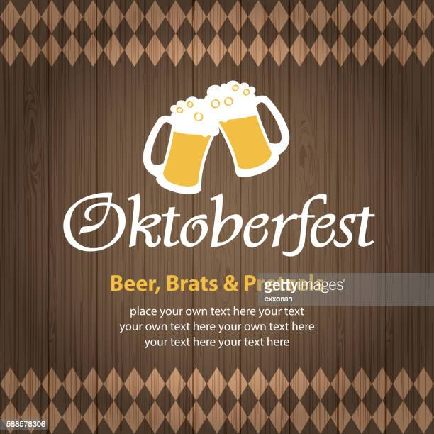 oktoberfest beer wooden background - beer glass stock illustrations, clip art, cartoons, & icons