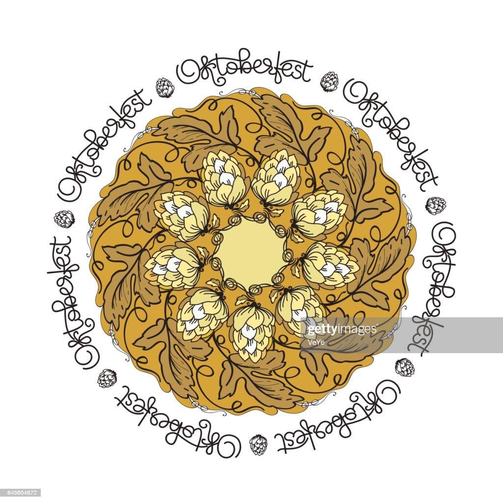 Oktoberfest card. Vector mandala with hop floral ornament.