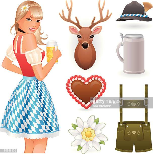 oktoberfest collection with lebkuchenherz, lederhosen and deer head - traditional clothing stock illustrations