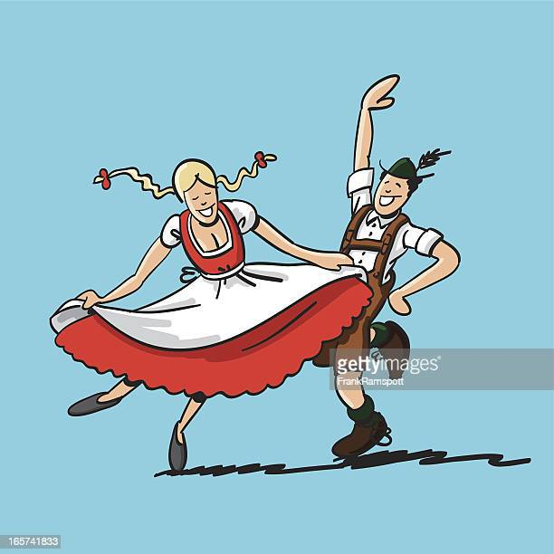 oktoberfest dancing couple - traditional clothing stock illustrations