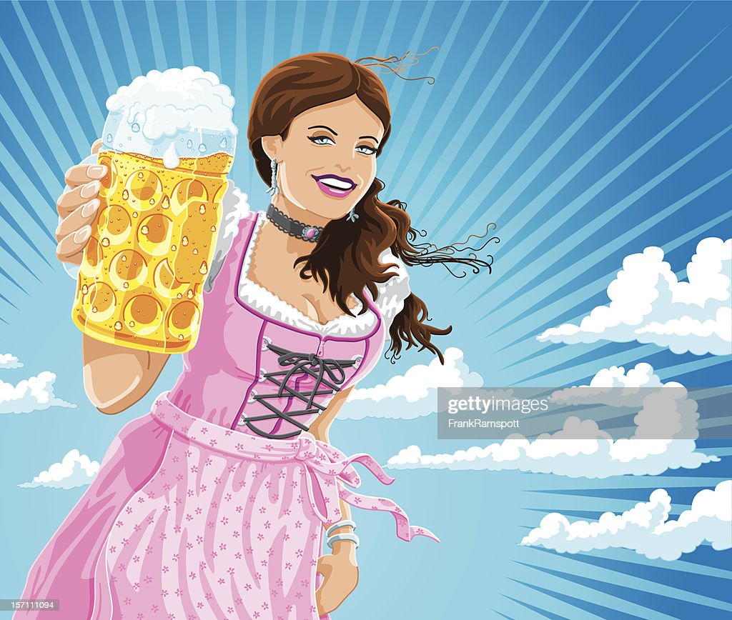 Oktoberfest Dirndl Frau Bierkrug Cheers : Stock-Illustration