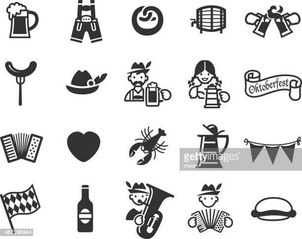oktoberfest festival icons set. - lager stock illustrations, clip art, cartoons, & icons