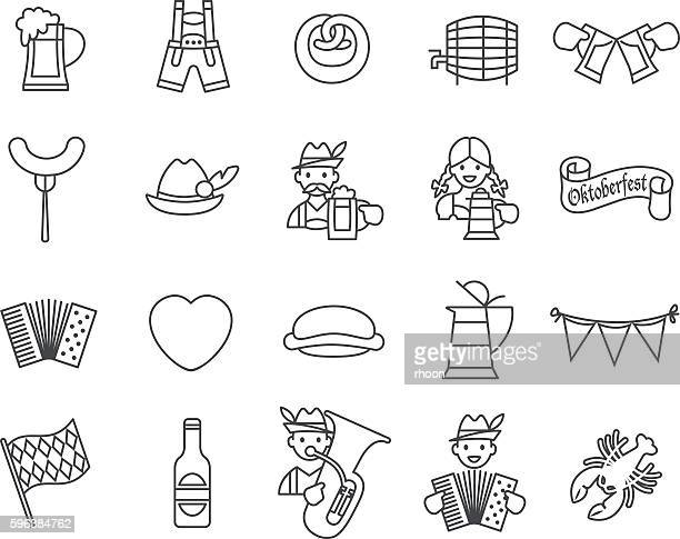 oktoberfest festival icons set. - traditional clothing stock illustrations