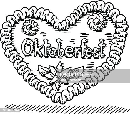 Oktoberfest Gingerbread Heart Drawing High-Res Vector