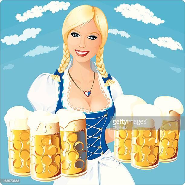 oktoberfest girl under bavarian sky - braided hair stock illustrations, clip art, cartoons, & icons