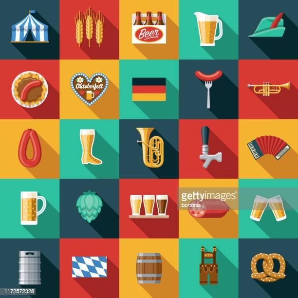 illustrazioni stock, clip art, cartoni animati e icone di tendenza di set di icone oktoberfest - cultura tedesca