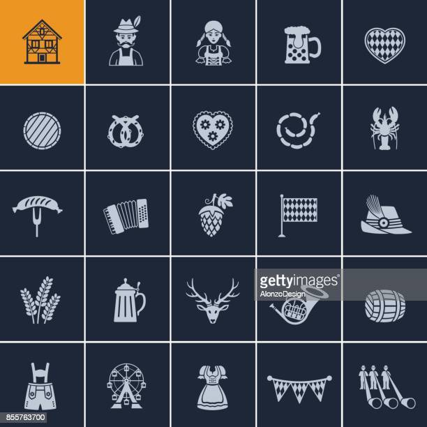 oktoberfest icon set - traditional clothing stock illustrations