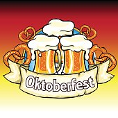 Oktoberfest label with beer and pretzels