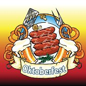 Oktoberfest label with beer, pretzels and sausages