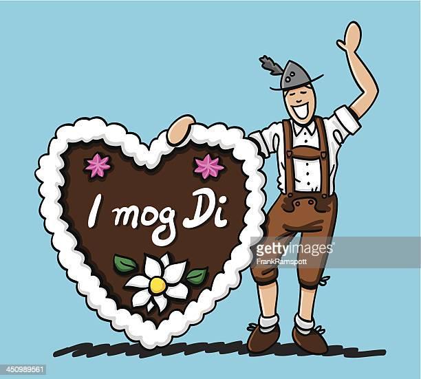 Oktoberfest Mann Lebkuchen Herzen ich Mog Di