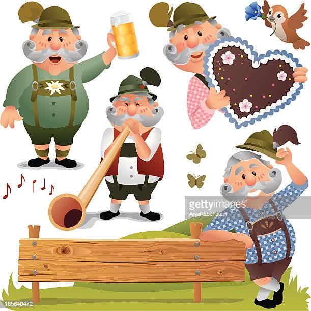 ilustrações, clipart, desenhos animados e ícones de a oktoberfest homem vestindo lederhosen a beber cerveja - roupa tradicional