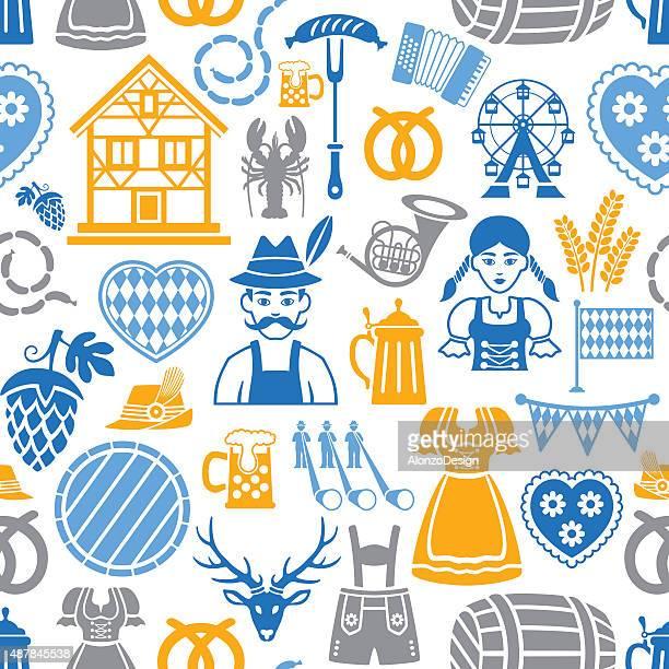 oktoberfest repetitive pattern - gingerbread house stock illustrations, clip art, cartoons, & icons