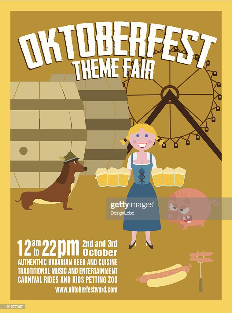 Oktoberfest Retro Poster - Fair Event Theme with Beer