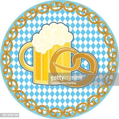 Oktoberfest Symbol With Beer And Pretzel On Round Bavarian Flag