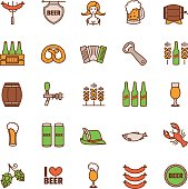 Oktoberfest thin line icons set. Vector illustration