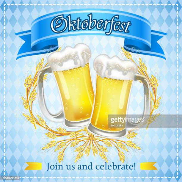 oktoberfest wheat beers - lager stock illustrations, clip art, cartoons, & icons