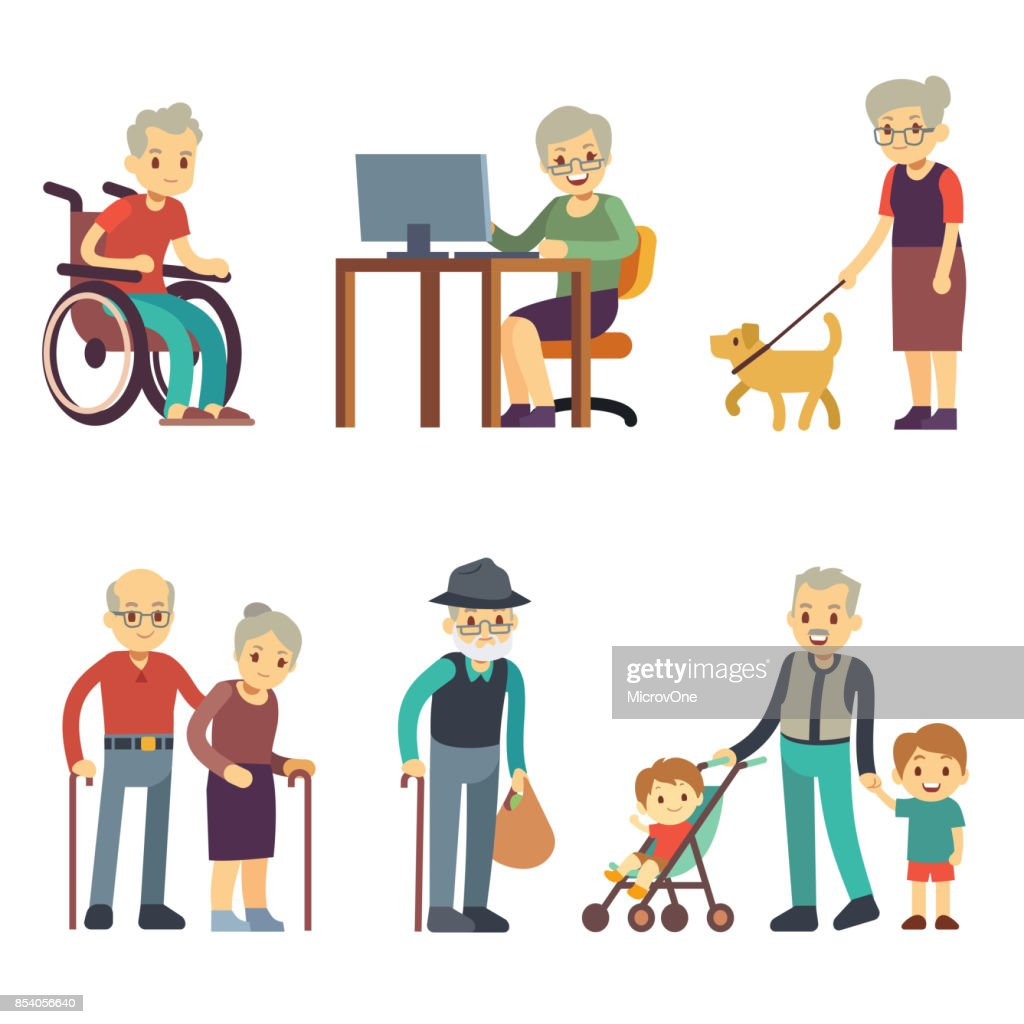 Old age people in different situations. Senior man and woman activities vector set