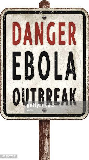 Alte rostige Gefahr ebola-ausbruch-Schild auf Pfosten
