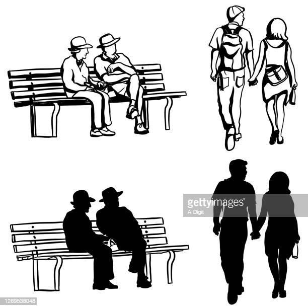 老若男女のシルエット - 年配のカップル点のイラスト素材/クリップアート素材/マンガ素材/アイコン素材