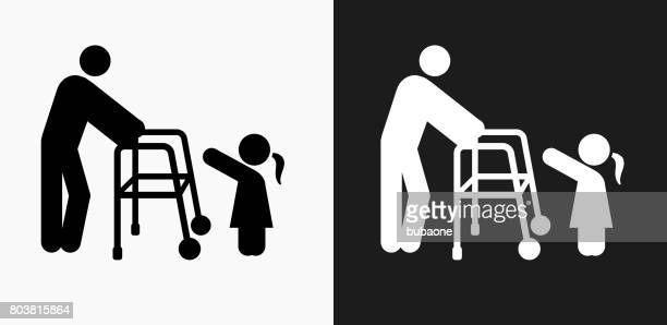 Old and Young Icon on Black and White Vector Backgrounds