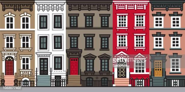 stockillustraties, clipart, cartoons en iconen met oude appartement gebouwen en gevels van new york - brooklyn new york