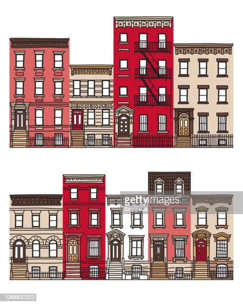 stockillustraties, clipart, cartoons en iconen met oude appartement gebouwen en gevels - brooklyn new york