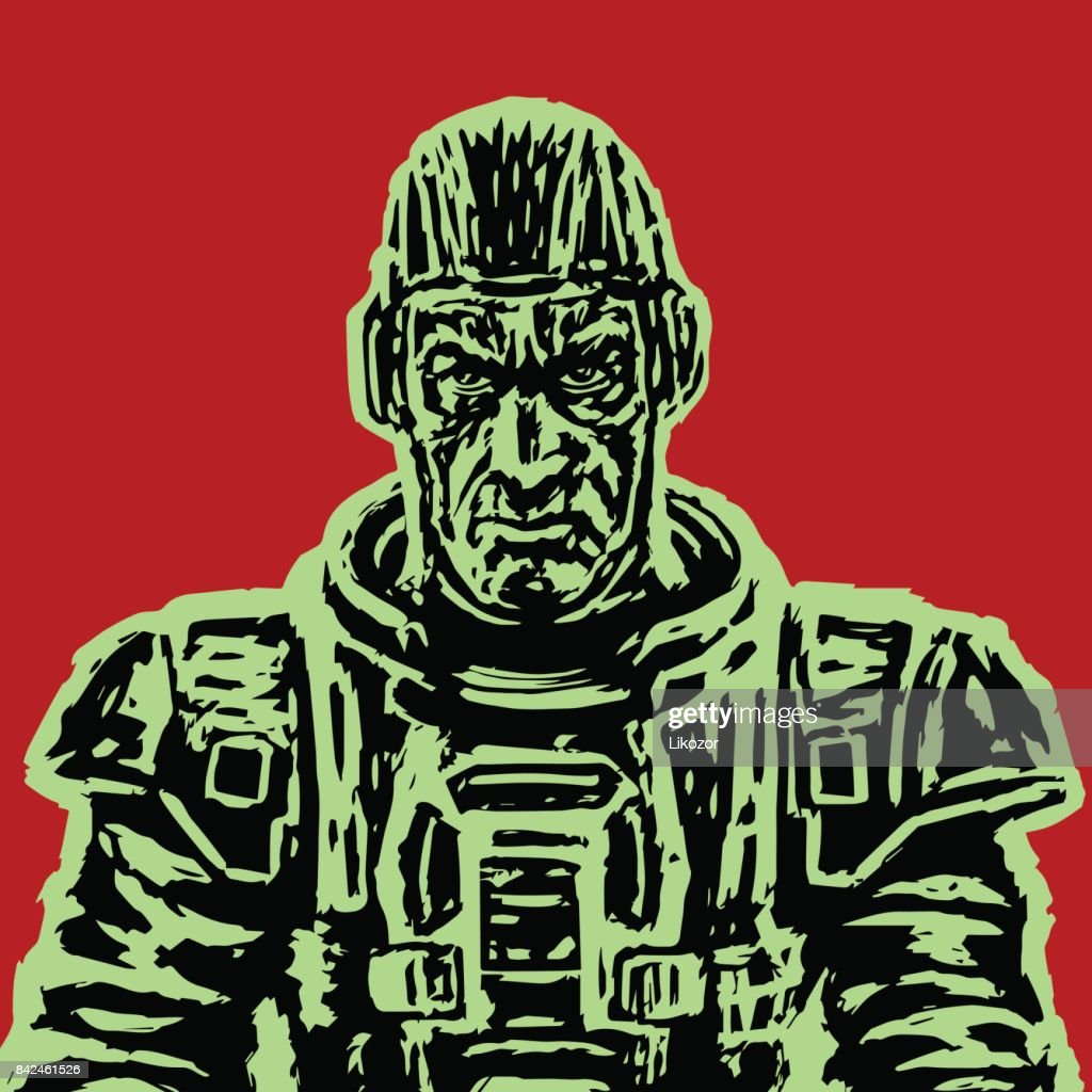Old astronaut in a space suit without a helmet. Vector illustration.