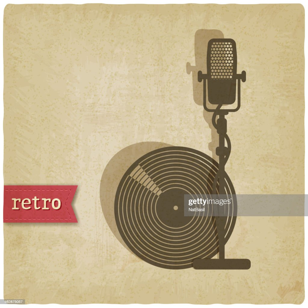 old background with microphone and record
