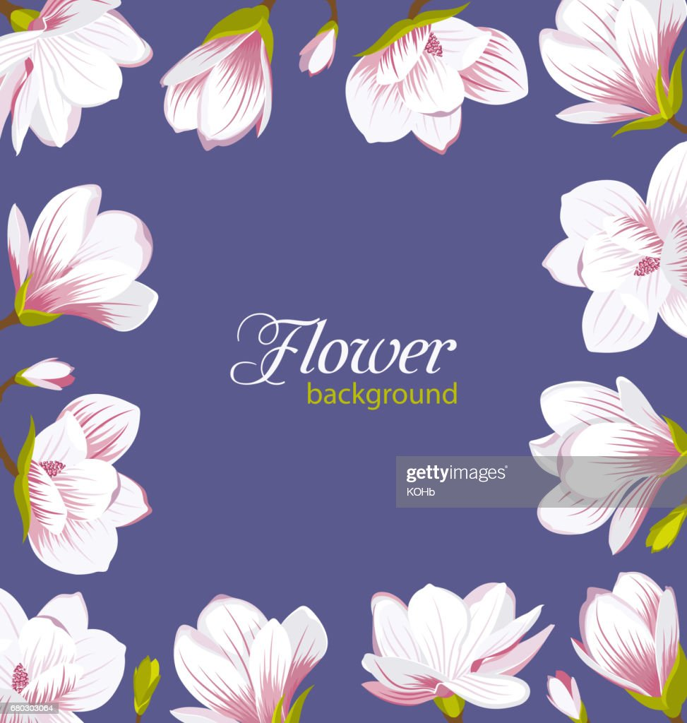 Old Border Made Of Beautiful Magnolia Flowers Stock Vector Getty