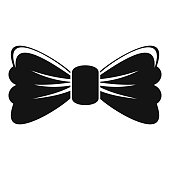 Old bow tie icon, simple style