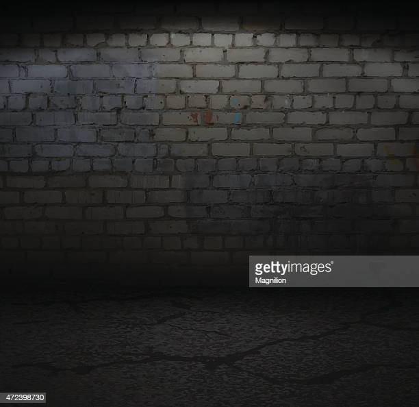 old brick wall with light - dark stock illustrations