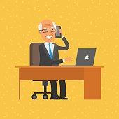 Old businessman talking on phone