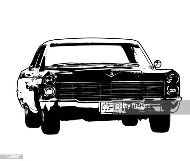 old cadillac - car show stock illustrations