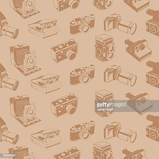 old camera seamless tile - large format camera stock illustrations, clip art, cartoons, & icons