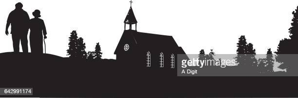 old chapel on the hill - chapel stock illustrations, clip art, cartoons, & icons