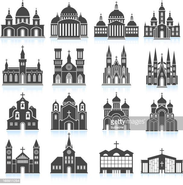 Old Church and Cathedral black & white vector icon set