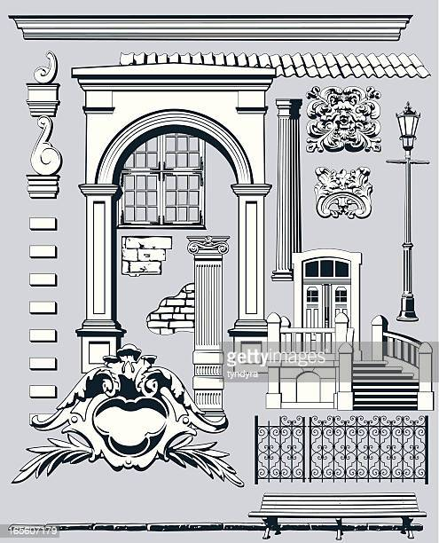 old city elements ii - architectural feature stock illustrations, clip art, cartoons, & icons