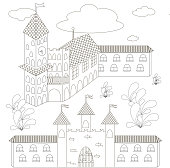 Old city for adult and children antistress coloring page