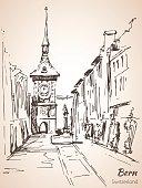 Old City of Bern view sketch. Switzerland.