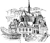 Old city, vector illustration