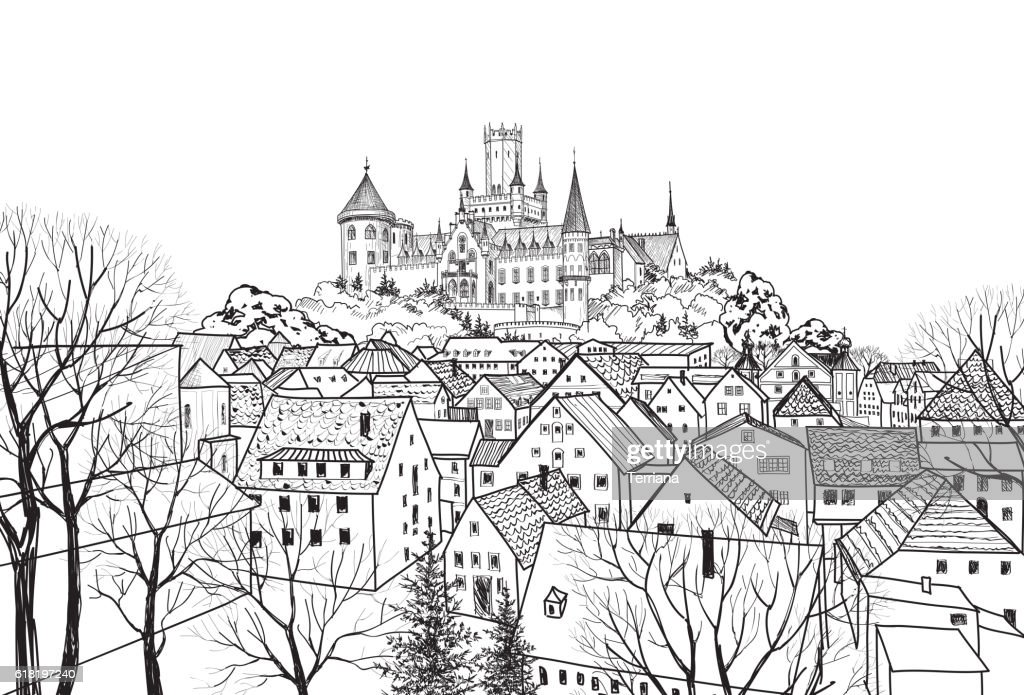Old city view: buildings, castle. Cityscape background. Medieval skyline