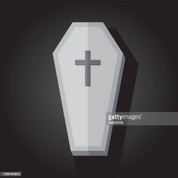 old coffin icon flat - coffin stock illustrations