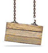 Old color wooden board with broken chain.