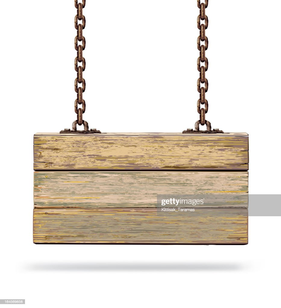 Old color wooden board with rusty chain.