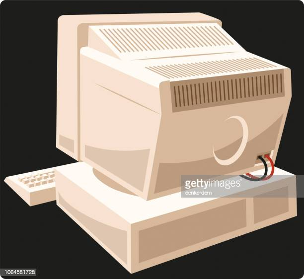 old computer - 1990 1999 stock illustrations